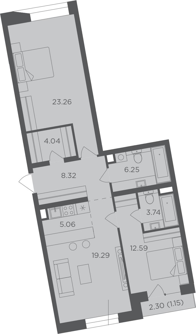 3-к.кв (евро), 84.85 м²