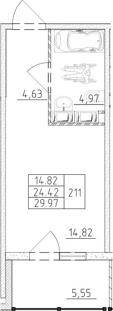 Студия, 26.07 м², от 12 этажа