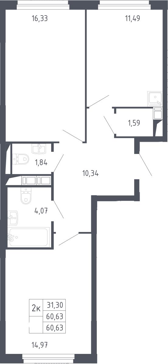 2-к.кв, 60.63 м²
