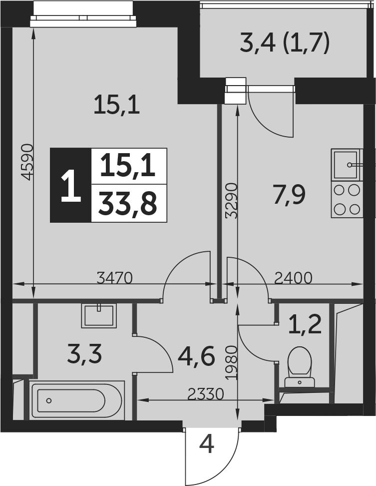 1-к.кв, 35.5 м²