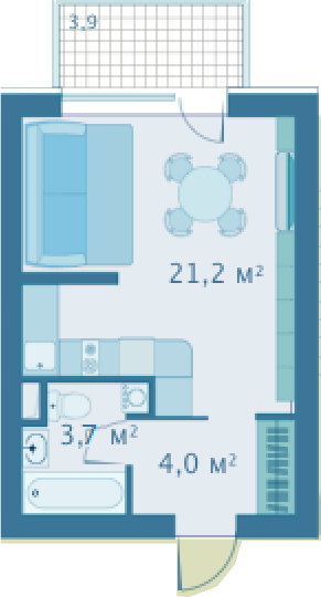 Студия, 28.9 м²– 2
