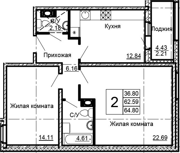 2-к.кв, 67.01 м²