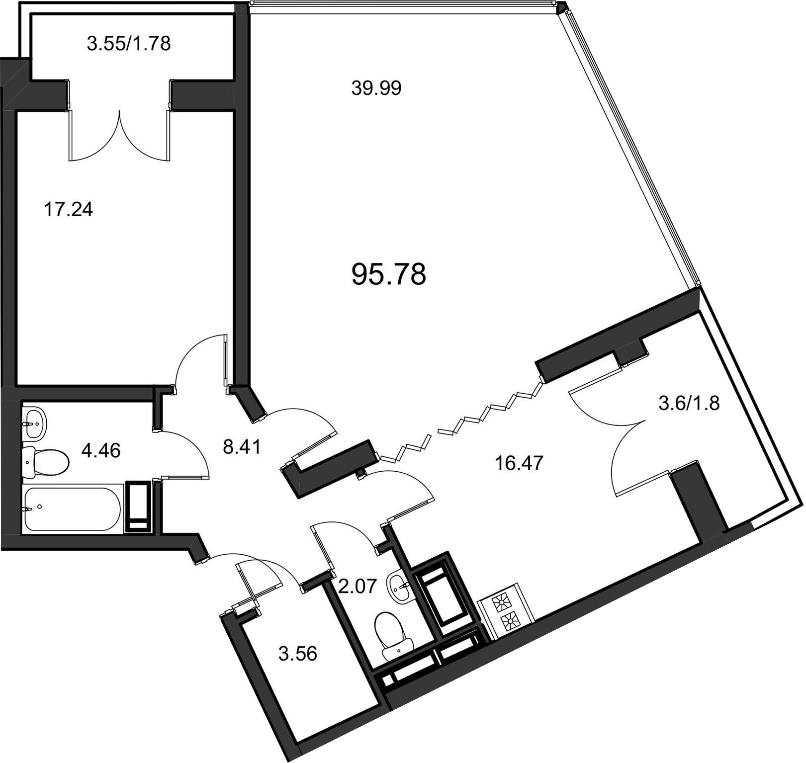2-к.кв, 96.5 м², 23 этаж