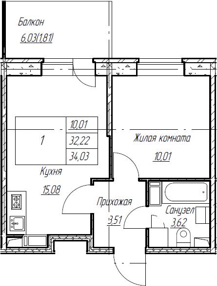 2Е-к.кв, 34.03 м², от 3 этажа