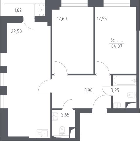 3Е-комнатная, 64.07 м²– 2