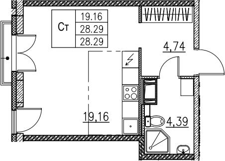 Студия, 28.29 м²– 2
