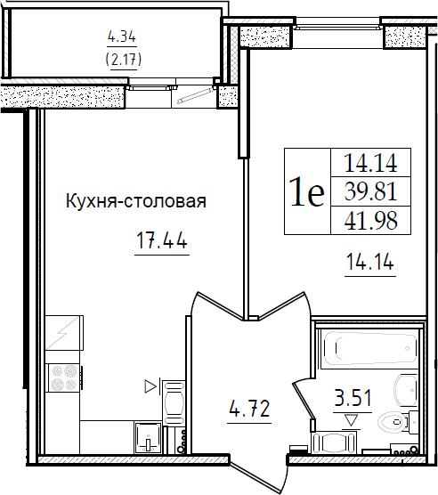 2Е-комнатная, 41.98 м²– 2