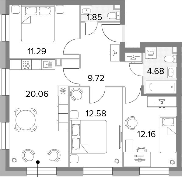 4Е-к.кв, 72.34 м²