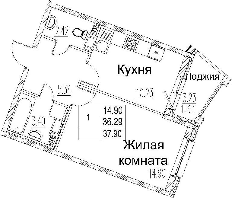 1-к.кв, 39.51 м²