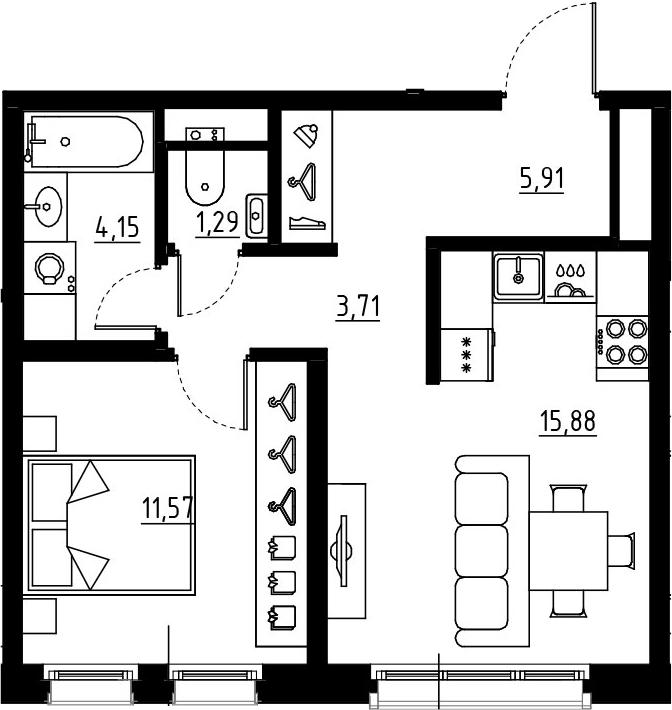 2Е-комнатная, 42.51 м²– 2