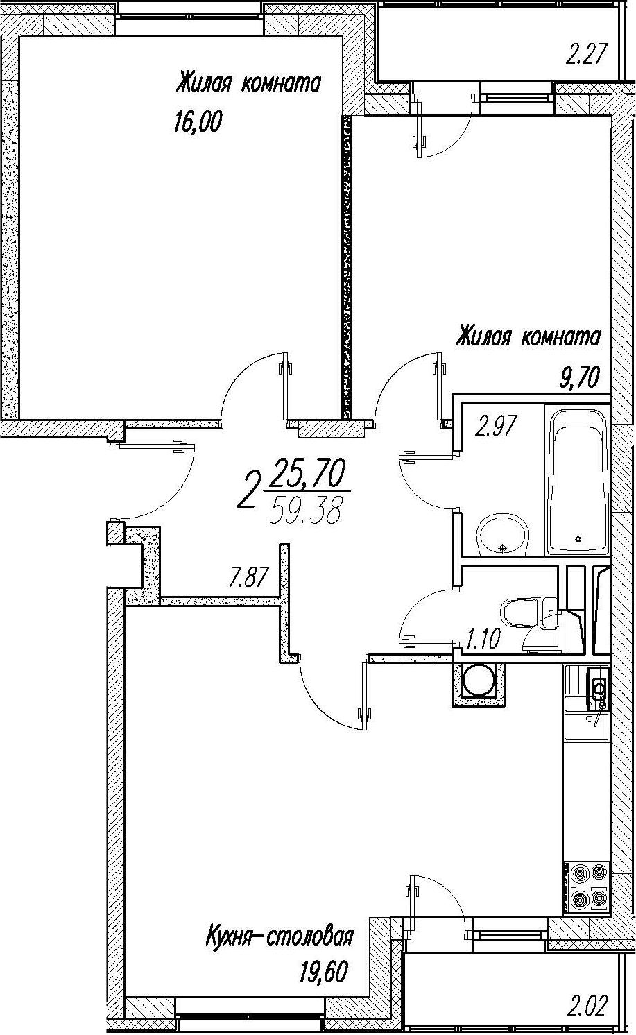 3Е-комнатная, 59.38 м²– 2