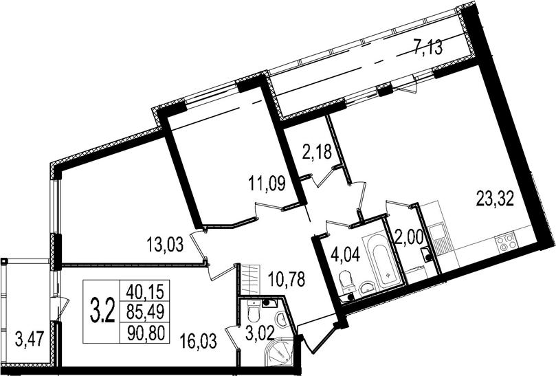 4-к.кв (евро), 92.62 м²