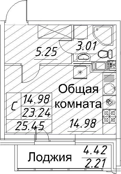 Студия, 25.45 м²– 2