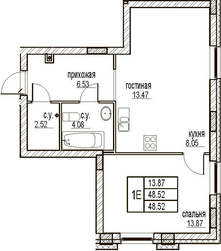 2Е-комнатная, 48.52 м²– 2