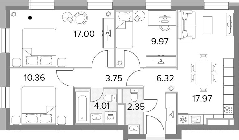 4-к.кв (евро), 71.73 м²