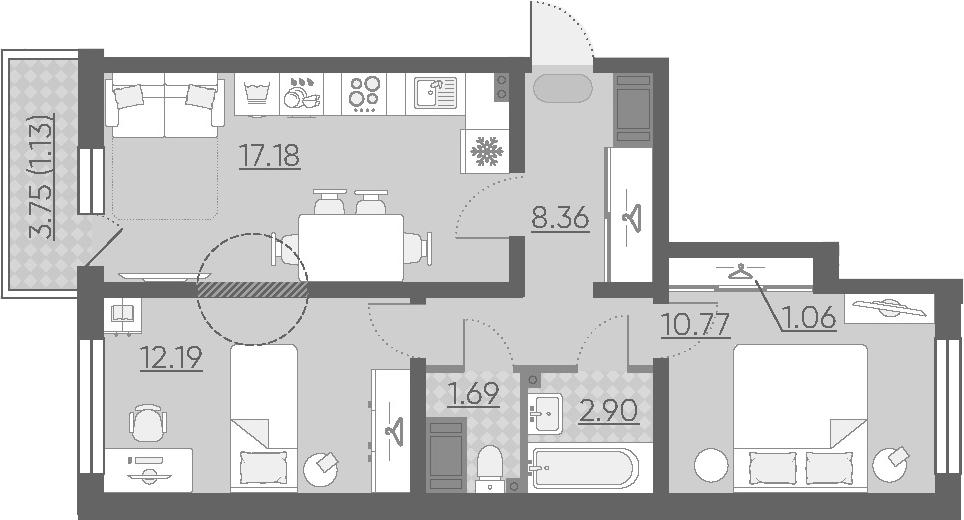 3Е-к.кв, 55.28 м², 2 этаж