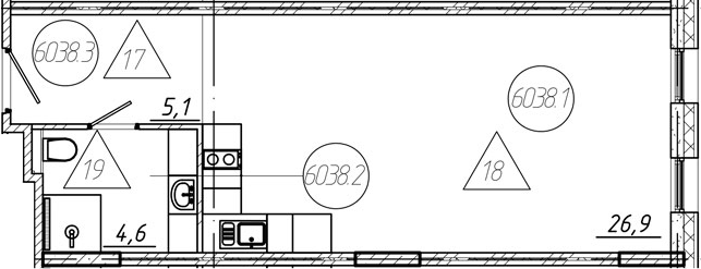 Студия, 36.6 м²
