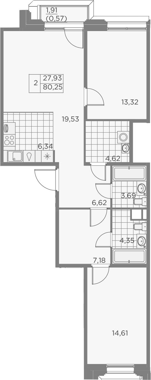 3Е-к.кв, 80.83 м², 3 этаж