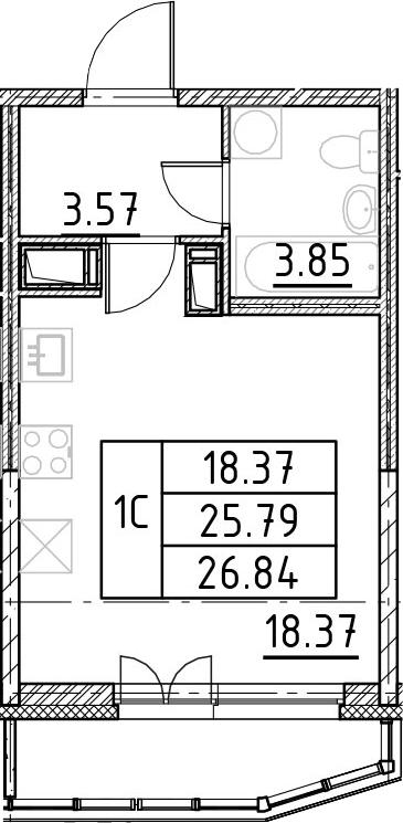 Студия, 26.84 м², 18 этаж