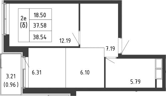 2-к.кв (евро), 40.84 м²