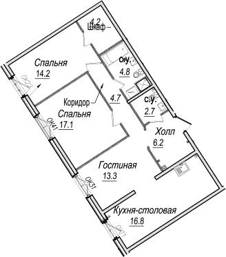 4-к.кв (евро), 84 м²