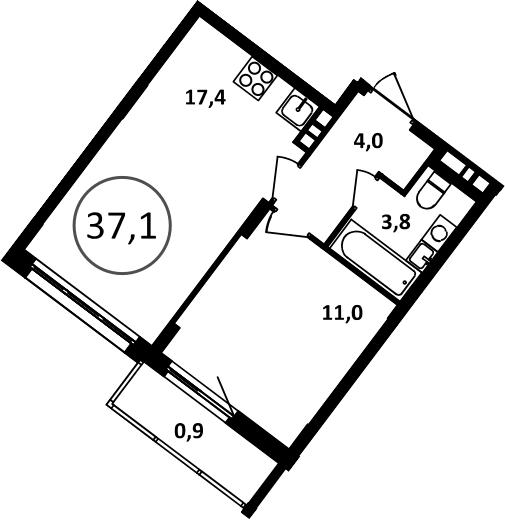 2Е-к.кв, 37.1 м²