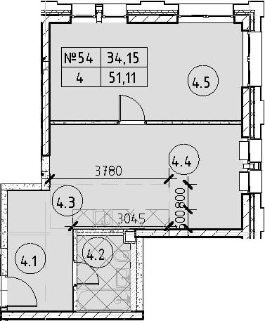 2Е-комнатная, 51.11 м²– 2