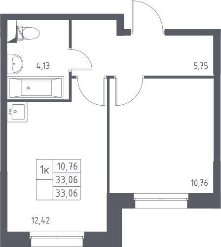 1-к.кв, 33.06 м²