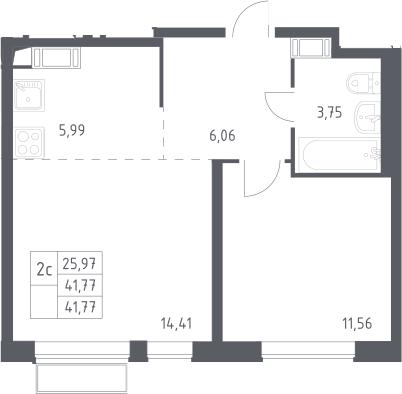 2Е-комнатная, 41.77 м²– 2