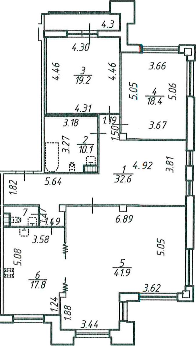 3-комнатная, 143.4 м²– 2