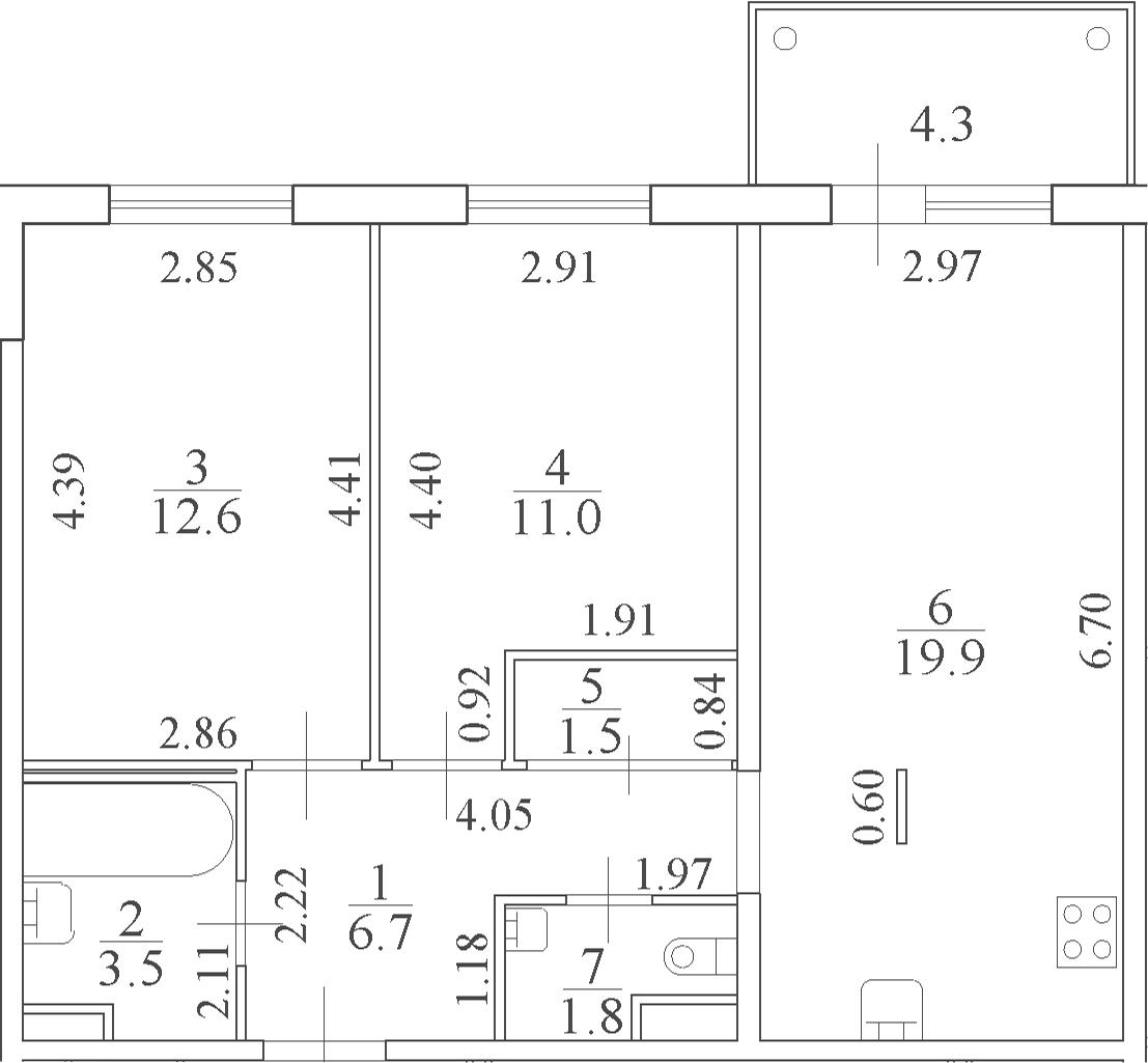 3Е-к.кв, 58.3 м², 4 этаж