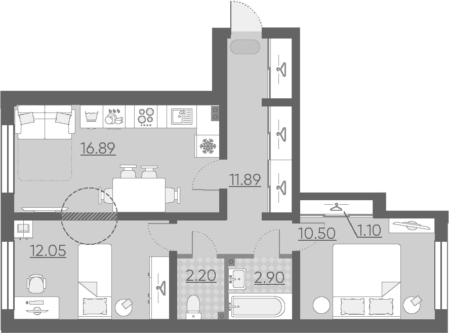 3-к.кв (евро), 57.43 м²