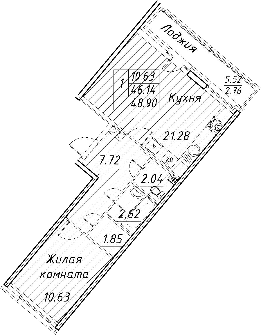 2-к.кв (евро), 51.66 м²