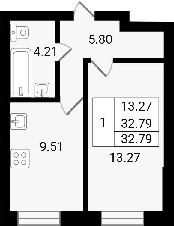 1-к.кв, 32.79 м²