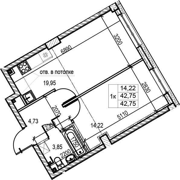 2Е-комнатная, 42.75 м²– 2