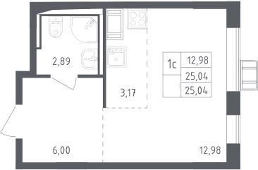 Студия, 25.04 м², 15 этаж