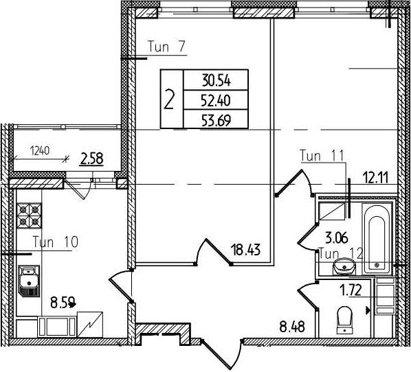 2-к.кв, 55.28 м²