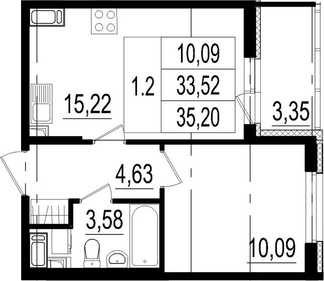 2Е-к.кв, 33.52 м², 4 этаж