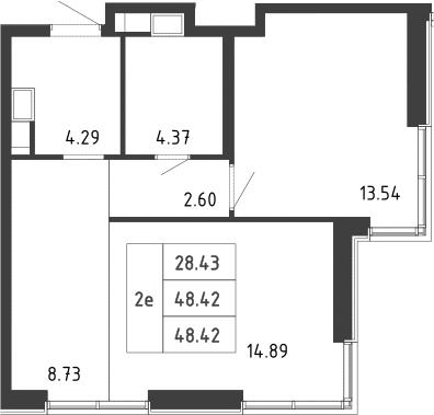 2-к.кв (евро), 48.3 м²