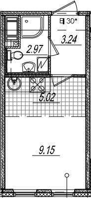 Студия, 20.38 м²– 2