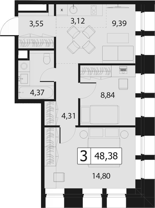 3Е-комнатная, 48.38 м²– 2