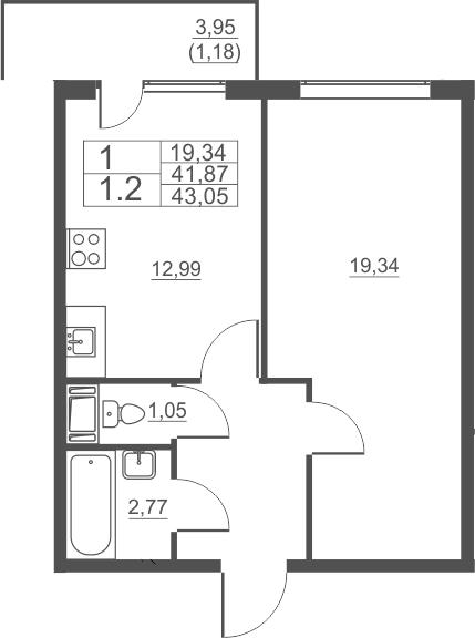 1-комнатная, 43.05 м²– 2