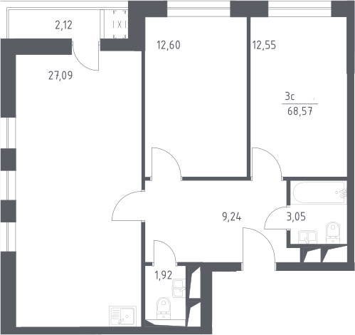 3Е-комнатная, 68.57 м²– 2