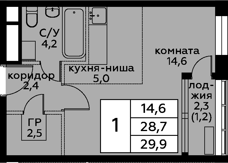 Студия, 29.9 м²– 2