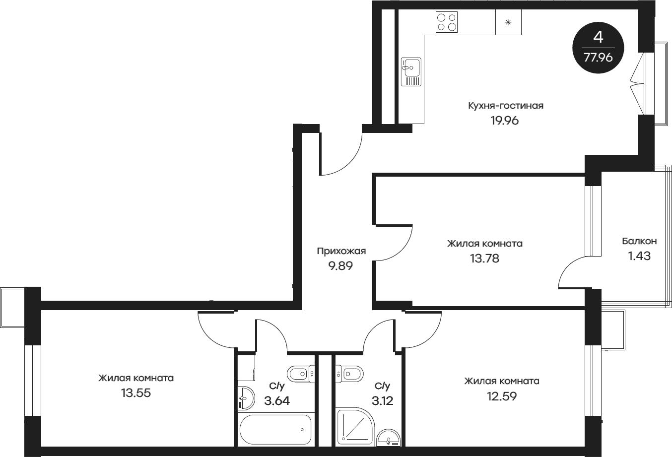 4Е-комнатная, 77.96 м²– 2