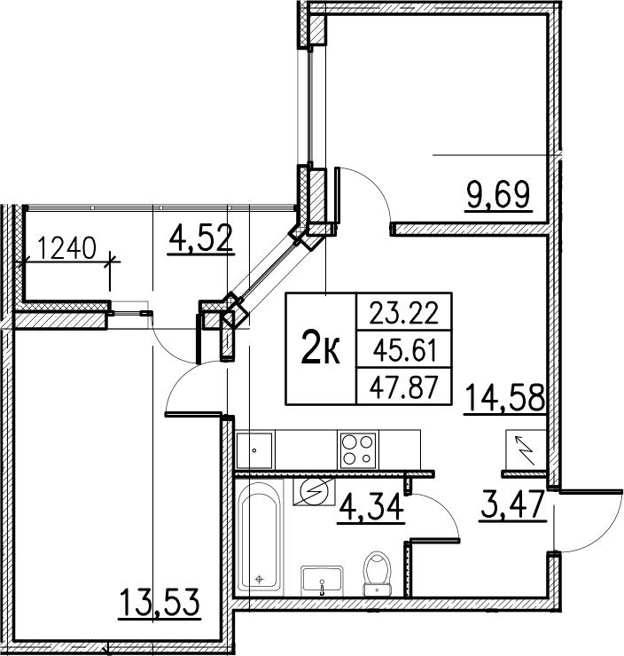 3Е-комнатная, 47.87 м²– 2
