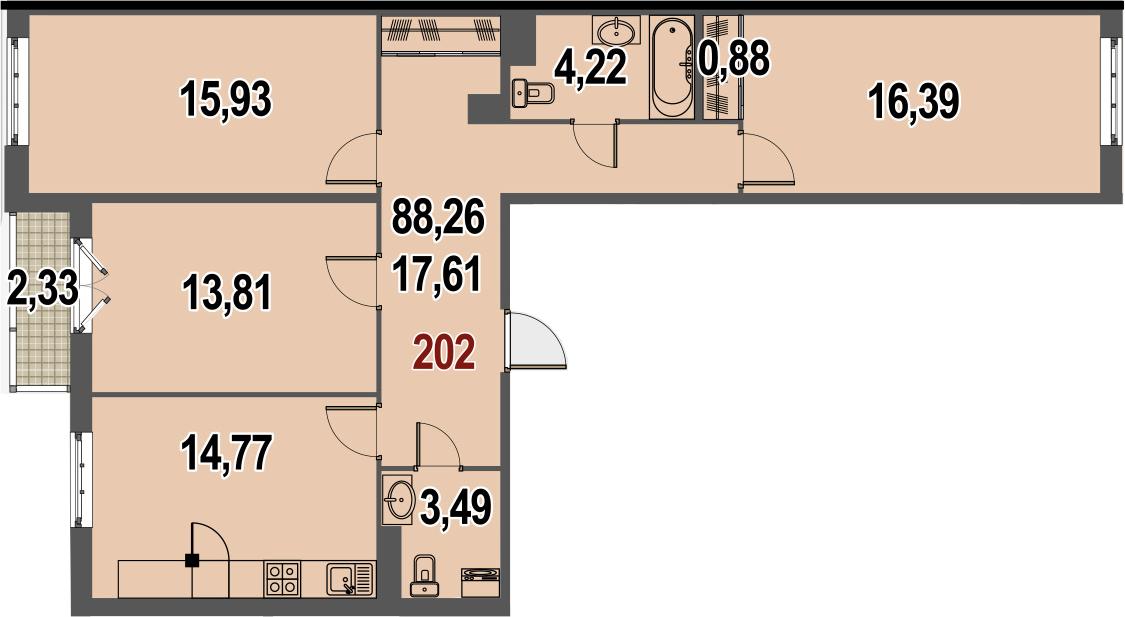3-комнатная, 88.26 м²– 2
