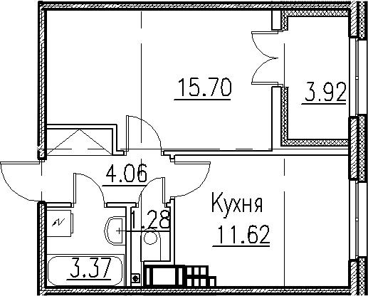 1-к.кв, 39.95 м²