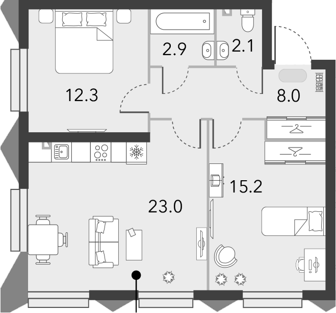 3Е-комнатная, 63.5 м²– 2