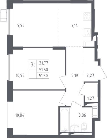 3Е-к.кв, 51.5 м², 13 этаж